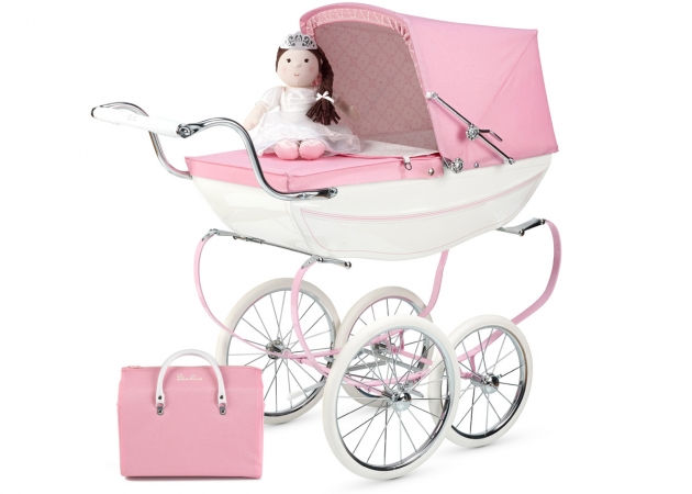 PRINCESS DOLLS PRAM + DOLL & BAG PINK